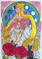 Sailor Moon in the style of Mucha by AsterDog