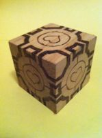 Companion Cube wood burning by bonniea423