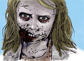 The Walking Dead's Zomibe Girl in color by StevenWilcox