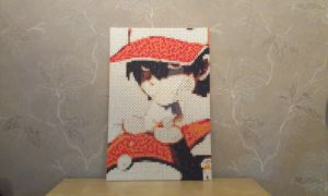 Trainer Red in perler by RavenTezea
