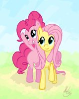 pinkie pie and fluttershy by Mal3n