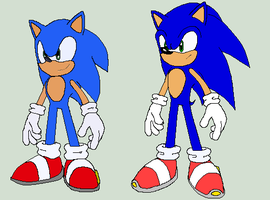 SU Sonic VS old-gen Sonic by SuperMysticSonic