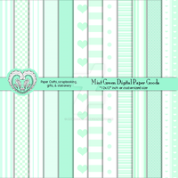 Mint Green Digital Scrapbooking Crafts Paper by anwaarsaleh