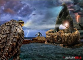 Godzilla vs Gamera by Legrandzilla