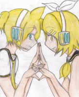 Rin and Len-Monochrome Ward by Emovampi666