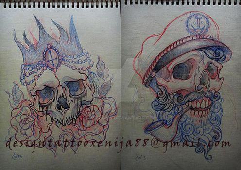Skulls sketchs for tattoo by Xenija88