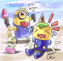 Minion vs Servbot : Baka banana by Puyo0702