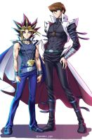 Yami And Kaiba (Colored) by Ycajal