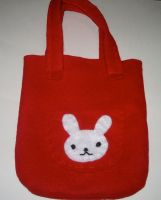 Red Bunny Bag by kiddomerriweather
