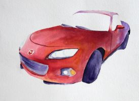 Mazda Miata Watercolor by Dewheart85