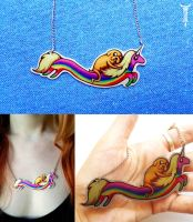 Adventure Time: Rainicorn and Jake necklace by TrollGirl