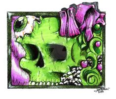 Green skull looking eye by Ch3mix
