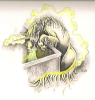 unicorn puking in a dumpster by Pokoa