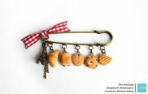 Vintage Pin Brooch Miniature Croissant Pastries by LaNostalgie05