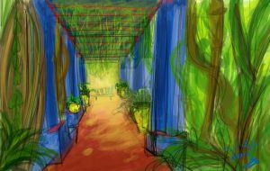 Jardin Majorelle fast sketch by clockworkBAT