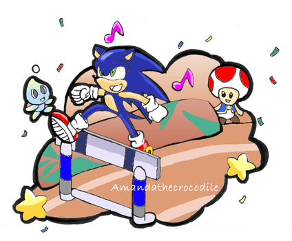 Sonic  in the 110m Hurdles Event by Amandathecrocodile