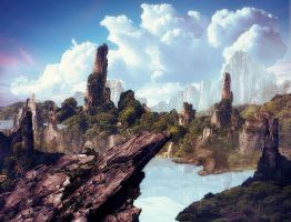 Fantasy Isle Matte Painting by BenHinman