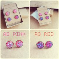 AB Resin Cabochon Antique Bronze Stud Earrings by crystaland