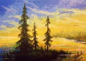 ACEO Sunset Cove by annieoakley64