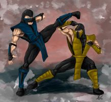 Scorpion vs Sub-Zero by Amenoosa