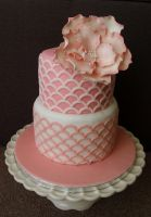 Pink Flower Cake by sparks1992