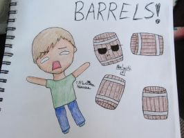 Chibi PewDiePie Attacked by Barrels! by MarMarRina