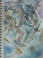 The great Equestria war - Celestia and Luna by ultimate-galaxy
