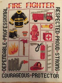 Fire Fighter Cross Stitch by sydneyhicks111