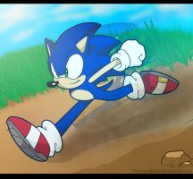 Sonic running by 5catsonebowl