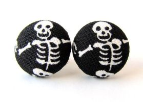 Skull skeleton earrings black goth punk rock metal by KooKooCraft