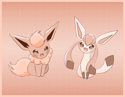 Flareon and Glaceon Chibi by LadyMaid-of-Pokemon