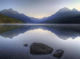Bowman Lake Sunset by invisiblelife