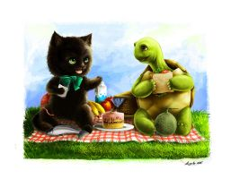 Commission - cat and turtle by eikomakimachi