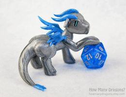 Silver and Blue Dice Holder Dragon by HowManyDragons
