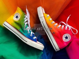 Custom Dyed Rainbow Converse by IntellexualDesign