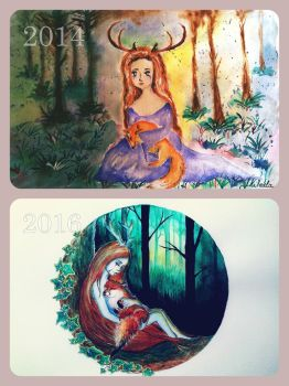 2014 vs. 2016 watercolour by red-fox-child