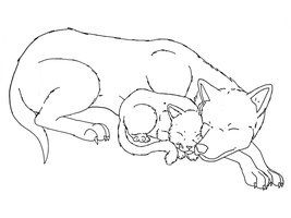 Cat and Dog sleeping base by Midnightflaze