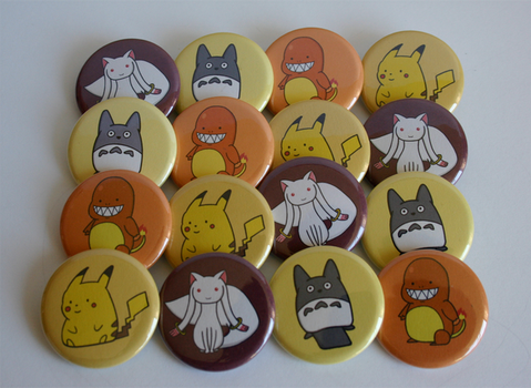 Anime/Cartoon Characters Button Set by ThePockyGirl