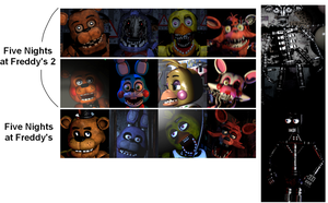 FNaF and FNaF2 animatronic faces comparison by AdolfWolfed4Life