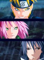 Naruto and Sasuke and Sakura by LEON-ANGELA