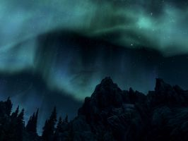Forest, mountains and the night sky by SereglothIV