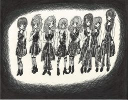 Morning Musume Tim Burton Style by DarkCloudXERO