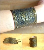 Fantasy Copper-like Leather Cuff by izasartshop