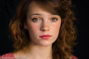 Beautiful teen model with red hair and green eyes by SandandLace