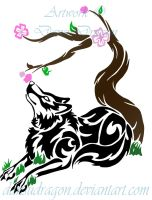 Tribal Wolf and Cherry Blossom by DansuDragon