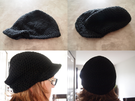 Black Slouchy Hat by Kelly-Crochet
