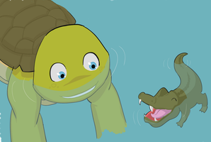 Mikey and his pet gator by Neos-mies