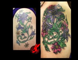Flower Cover-Up tattoo by Jackie Rabbit by jackierabbit12