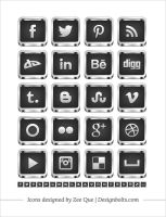 Free 3D Silver Black Social Media Icons by Designbolts