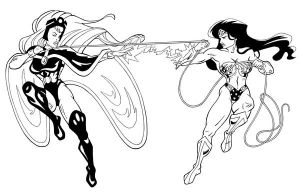 Wonder Woman vs Storm inked by FeiLongEX
